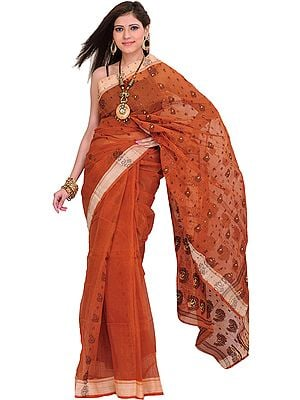 Amber-Brown Tangail Sari from Bengal with Woven Paisleys
