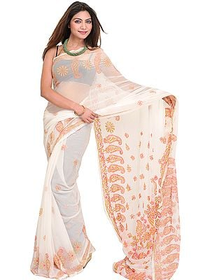Egret-White Sari from Lucknow with Chikan Hand-Embroidered Paisleys by Hand