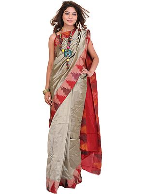 Aluminum-Colored Plain Sari from Karnataka with Woven Temple Border