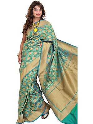 Winter-Green and Golden Banarasi Sari with Woven Flowers