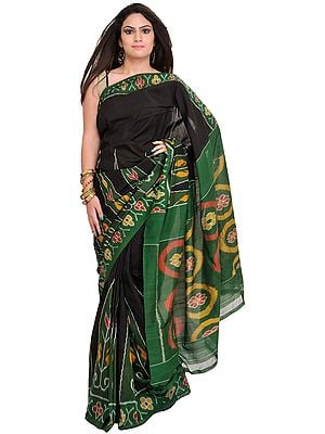 Black and Green Handloom Sari from Pochampally with Ikat Weave