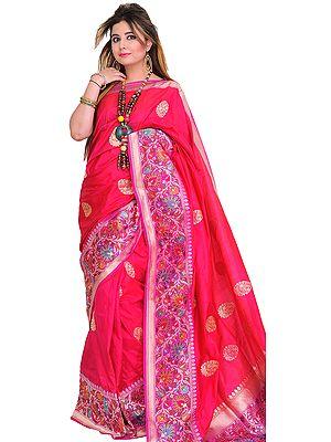 Raspberry-Sorbet Superfine Sari from Banaras with Wide Kadhwa Border