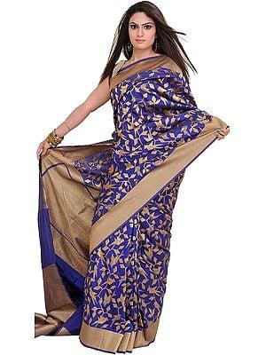 Mazarine-Blue Banarasi Sari with Woven Birds in Zari Thread