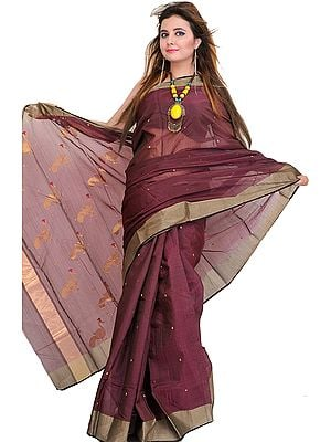 Windsor-Wine Handloom Chanderi Sari With Woven Peacocks on Aanchal
