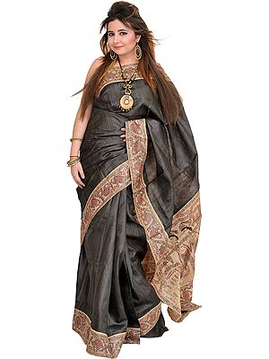 Dark-Shadow Sari from Bihar with Hand-Painted Madhubani Folk Motifs on Aanchal