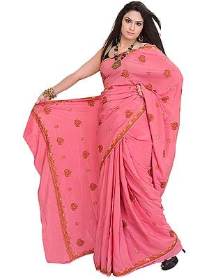 Wild-Rose Sari from Kashmir with Sozni Embroidered Maple Leaves by Hand