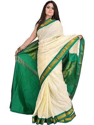 Ivory and Green Sari from Bangalore with Woven Bootis and Paisleys on Aanchal