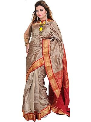 Timber-Wolf Sari from Bangalore with Woven Bootis and Brocaded Aanchal