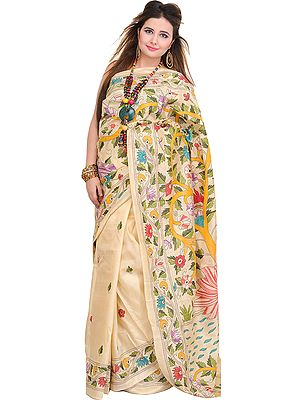 Cream Sari from Kolkata with Kantha Embroidered Foliage by Hand