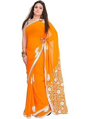 Flame-Orange Sari from Punjab with Phulkari Embroidered Flowers and Gota Border