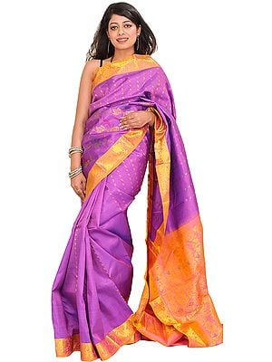 Dewberry-Purple and Peach Kanjivaram Handloom Sari with Brocaded Aanchal