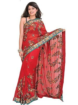 Chili-Pepper Wedding Sari with Floral Embroidery and Beadwork by Hand