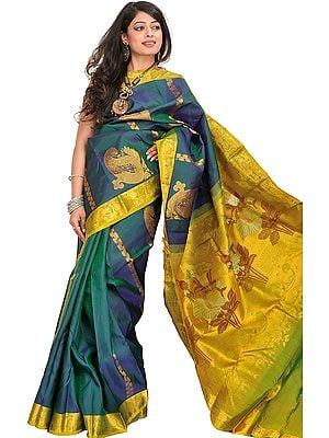 Teal Kanjivaram Handloom Sari with Woven Paisleys in Zari Thread