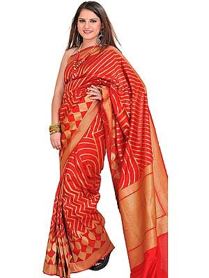 Mars-Red and Golden Wedding Sari from Banaras with Zari Weave All-Over