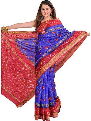 Bandhani Tie-Dye Marwari Sari from Jodhpur with Zari Embroidered Flowers