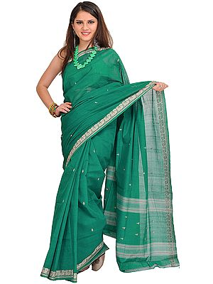 Cadmium-Green Venkateshwara Sari with Woven Bootis and Border