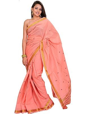 Peach-Bloosom South Cotton Sari with Woven Bootis and Zari Border
