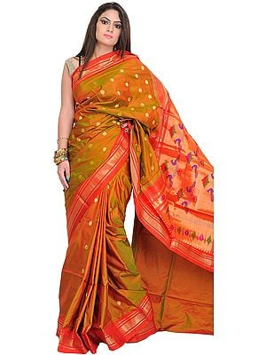 Bronze-Mist and Orange Paithani Sari with Woven Bootis and Peacocks on Aanchal