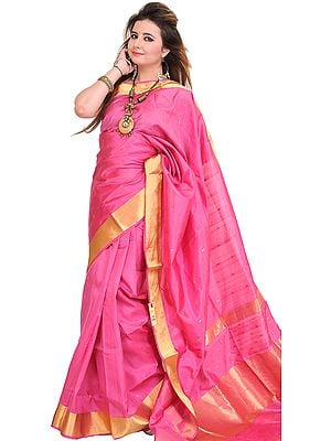 Chateau-Rose Sari from Banaras with Woven Bootis and Zari Border