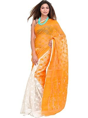 Orange and Ivory Jamdani Sari from Bengal with Woven Bootis