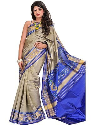Gray and Blue Handloom Patan Patola Sari from Gujarat with Ikat Weave