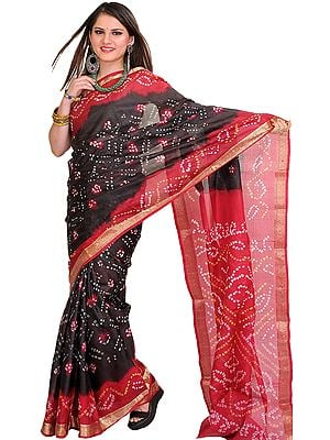 Jet-Black and Red Bandhani Tie-Dye Marwari Sari from Jodhpur with Brocaded Border