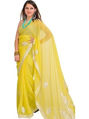 Canary-Yellow Wedding Sari with Zari Embroidered Paisleys and Border