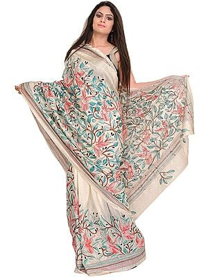 Vanilla-Ice Sari from Kolkata with Kantha Hand-Embroidered Birds and Leaves