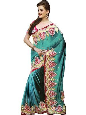 Capri-Breeze and Pink Designer Wedding Sari with Zari Embroidered Patches and Stonework