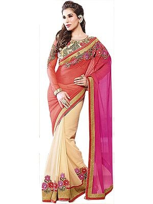 Hot-Coral and Cream Wedding Sari with Floral Patches and Embroidered Blouse
