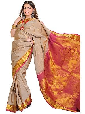 Moonlight and Pink Kanjivaram Sari with Woven Little Krishna on Aanchal