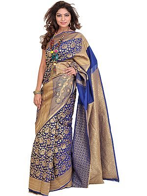 Estate-Blue Sari from Banaras with Zari Woven Flowers All-Over