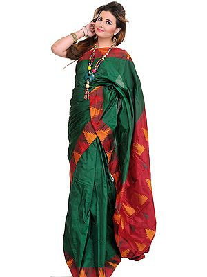 Foliage-Green Plain Sari from Karnataka with Temple Woven Border