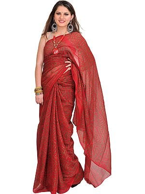 Brick-Red Bandhani Tie-Dye Marwari Sari from Jodhpur