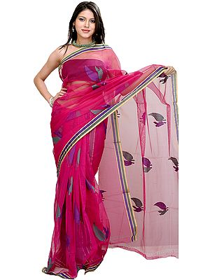 Lilac-Rose Sari from Banaras with Woven Leaves All-over