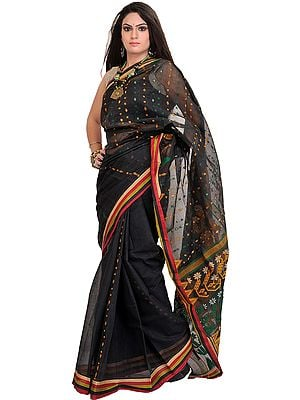 Caviar-Black Jamdani Sari from Bengal with Woven Bootis and Striped Border