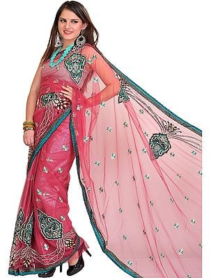 Rose-Wine Wedding Shimmer Sari with Embroidered Patches and Sequins
