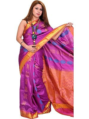 Hyacinth-Violet Handloom Sari from Bangalore with Woven Bootis and Zari Weave on Border