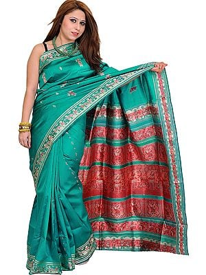 Tropical-Green Baluchari Sari from Kolkata Depicting the Swayamvar of Sita