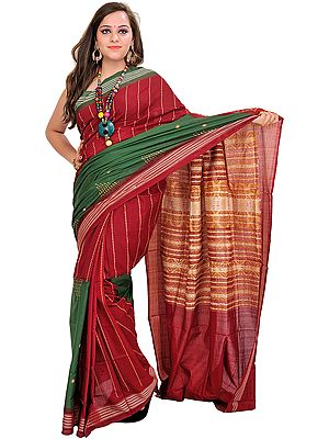 Maroon and Green Double-Colored Bomkai Sari from Orissa