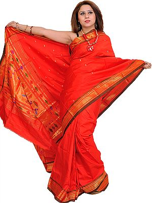 Poppy-Red Paithani Sari with Hand-Woven Peacocks on Aanchal and Brocade Border