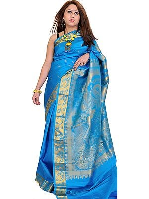 Hawaiian-Ocean Kanjivaram Sari with Woven Little Krishna on Aanchal
