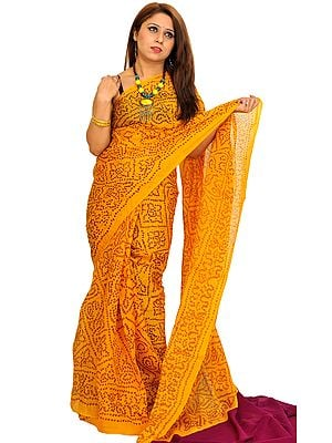 Freesia-Yellow Bandhani Tie-Dye Marwari Sari from Jodhpur