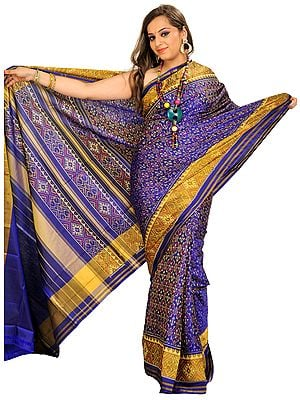 Orient-Blue Patan Patola Sari from Gujarat with Ikat Weave