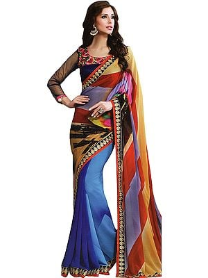 Multicolor Digital-Pinted Sari with Embroidered Patch Border