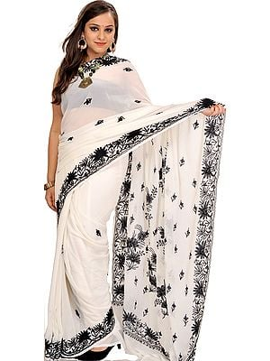 Pristine-White Sari from Kashmir with Black Ari-Embroidered Flowers