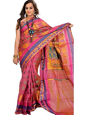 Heather-Rose Banarasi Sari with Zari Woven Flowers