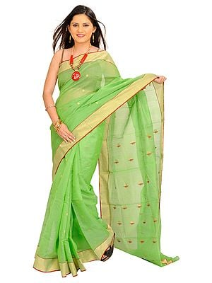 Grass-Green Chanderi Sari with Woven Flowers on Aanchal and Tissue Border