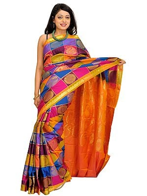 Multicolor Brocaded Sari from Bangalore with Zari-Woven Flowers and Paisleys
