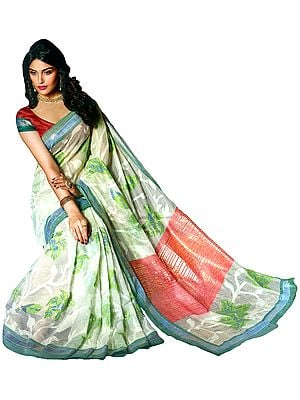 Ivory Kashida Silk Sari with Woven Leaves and Self Weave